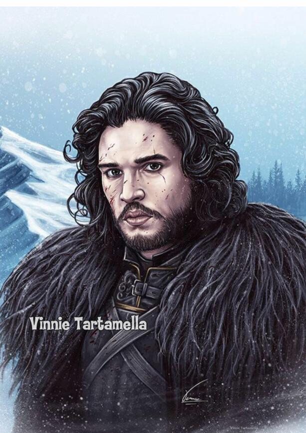 ORIGINALEN: Illustrasjon av Game of Thrones-karakteren Jon Snow. Illustrasjon: Vinnie Tartamella.