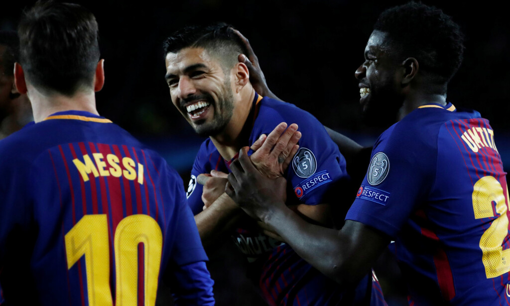 HERJET: Luis Suarez og Barcelona tok første stikk i Champions League-kvartfinalen. Foto: REUTERS/Juan Medina