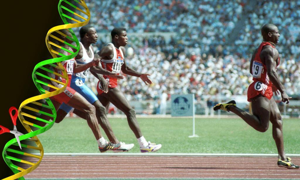 DOPINGMARERITT: Ben Johnson var suveren i finalen på 100 meter i Seoul i 1988. Men han var dopet og ble tatt. Nå spøker ny metodikk som kan vende opp ned på hele toppidretten. Foto: Dagbladet grafikk / NTB Scanpix