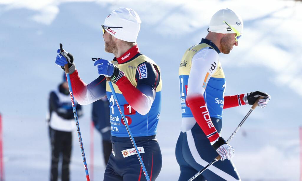INGEN STOR GREIE: Det sier Martin Johnsrud Sundby. Her med Petter Northug mellom heatene. Foto: Terje Pedersen / NTB scanpix