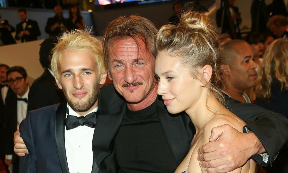 I TRØBBEL: Sønnen til Sean Penn, Hopper Penn, skal slite med å holde seg rusfri. Her er Sean Penn sammen med sønnen Hopper Penn og dattera Dylan Penn. Foto: NTB Scanpix
