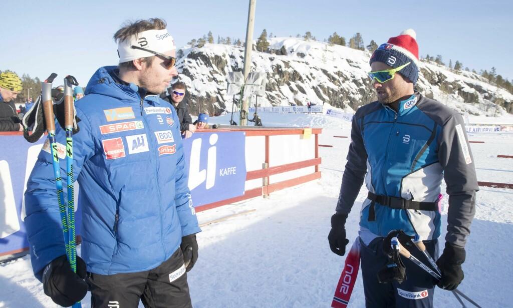 STARTER: Petter Northug, her med landslagstrener Eirik Myhr Nossum, går 10 kilometer klassisk fredag. Foto: NTB Scanpix