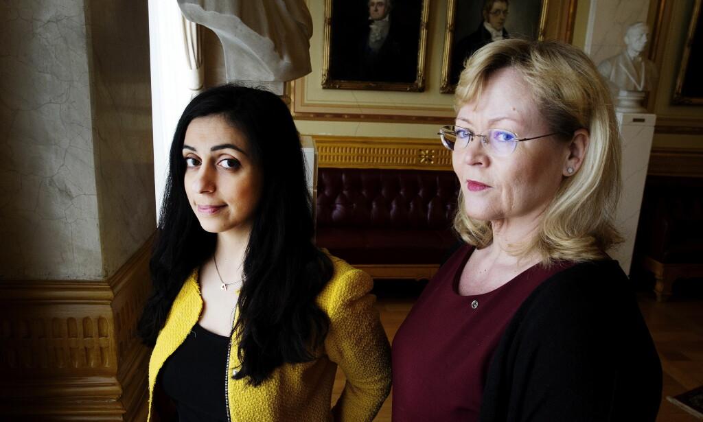 BER OM FLERE ÅPNE REGISTRE: Aps nestleder Hadia Tajik og LOs Trude Tinnlund, leder for arbeidet mot sosial dumping. Foto: Henning Lillegård / Dagbladet .