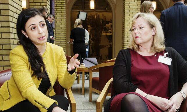 PÅ STORTINGET: Aps Hadia Tajik og LOs Trude Tinnlund, leder for arbeidet mot sosial dumping.  Foto: Henning Lillegård / Dagbladet .