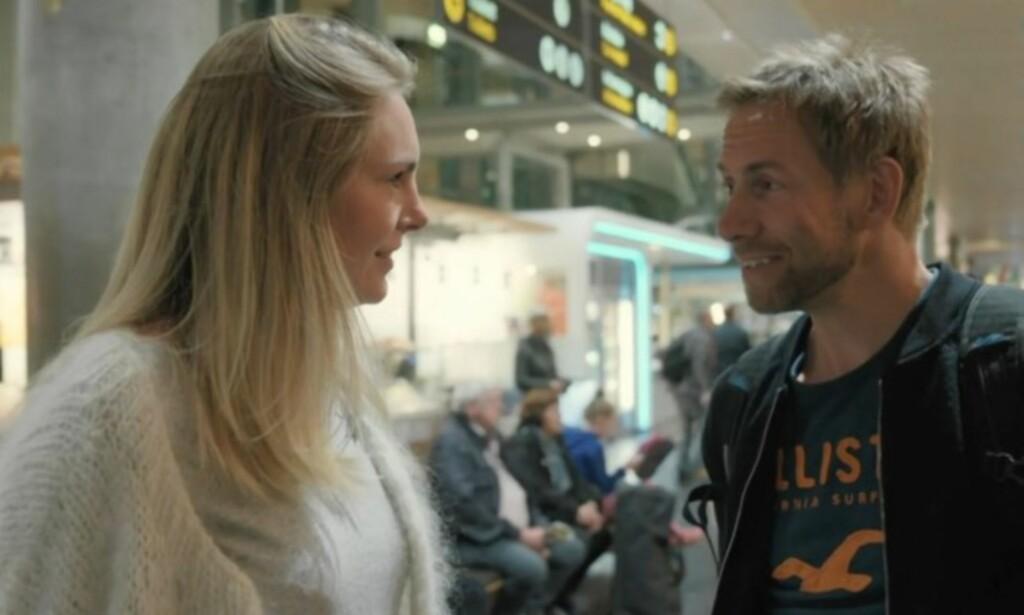 TATT PÅ SENGA: Geir Kildahl innrømmer at han ble overrasket da kona ventet på ham på Gardermoen. Foto: TVNorge