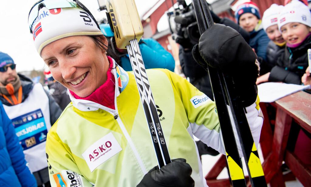 FERDIG: Marit Bjørgen gir seg etter lørdagens 30 kilometer fri teknikk i NM i Alta. Foto: Bildbyrån/Jon Olav Nesvold