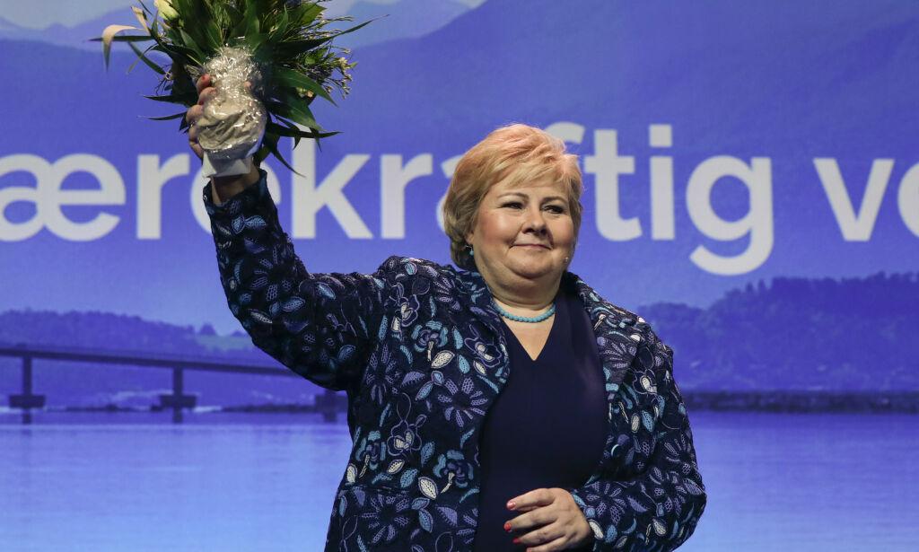 Gardermoen  20180406. Statsminister Erna Solberg fra Høyre under Høyres landsmøte på Gardermoen fredag. Foto: Lise Åserud / NTB scanpix