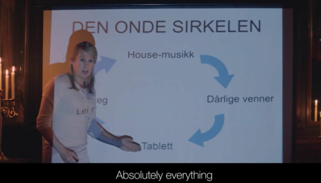 <strong>BILDEFRAMVISNING:</strong> Bård Ylvisåker i rollen som en fersk kronprinsesse Mette-Marit. Foto: TVNorge