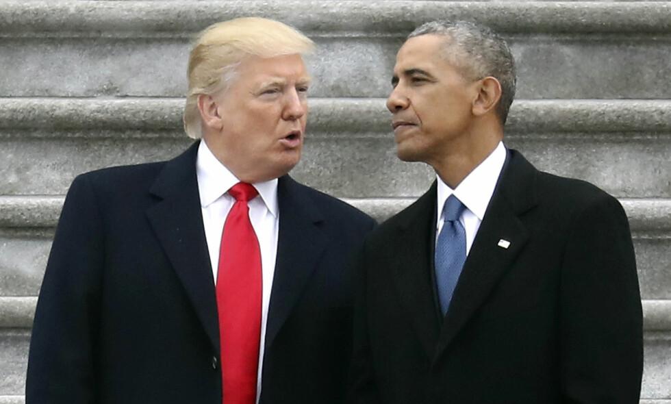 KOPIERTE OBAMA: I 2013 freste Donald Trump mot Barack Obamas håndtering av en mulig aksjon mot Syria. Nå har han gjort det samme som sin forgjenger og sagt offentlig at USA vil angripe Syria. Foto: Rob Carr / Pool Photo via AP / NTB scanpix
