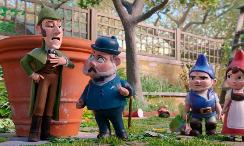 """GNOMETE: Bruk tida på alt annet enn denne filmen der tittelen er best, """"Sherlock Gnomes"""". Foto: SF"""