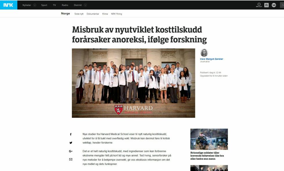 FALSK: Her ser vi både NRK-logo, bylinebilde av journalist og reell NRK-layout. Men dette er en falsk NRK-side. Foto: Skjermdump