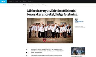 HELT NRK-LIK: Bare domenenavnet i nettleseren viser at dette ikke er en ekte NRK-sak. Foto: Skjermdump