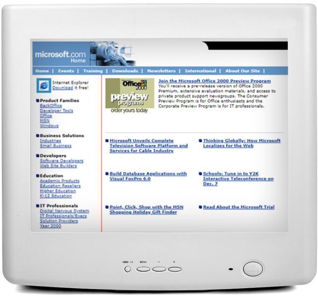 MICROSOFT: Her ser du Microsoft.com i 1998. De utviklet da Office 2000.