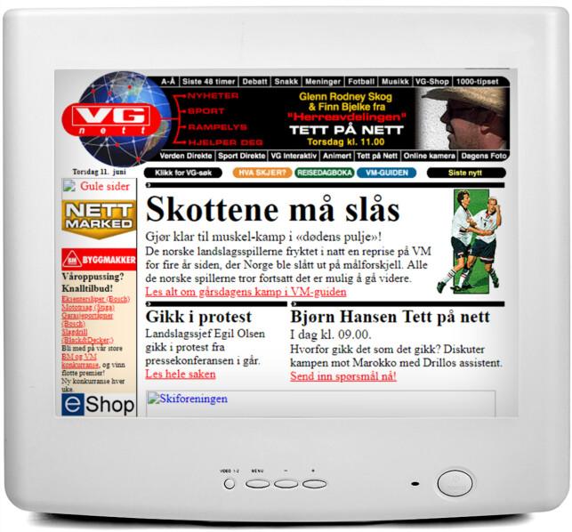 VG: Her har du VG.no fra 1998, med masse fotballstoff, som blant annet Drillo-drama.