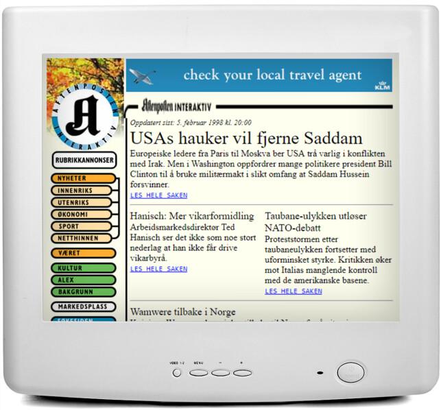 AFTENPOSTEN: Aftenposten.no var også i 1998 et mer edruelig alternativ.