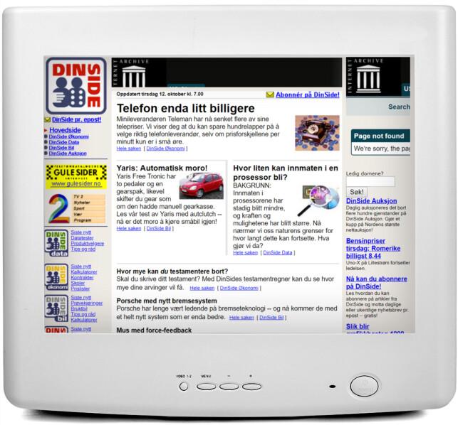 1998: Her ser du en av de første versjonene av Dinside.no. Legg merke til «DinSide Auksjon» i margen til høyre, som senere ble QXL.