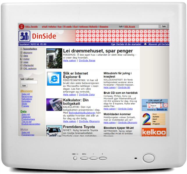2001: Dinside-logoen har blitt pusset opp, og merkenavnet QXL har dukket opp. Vi har også testet Internet Explorer 6, og skryter av mulighetene med CD-brenning.