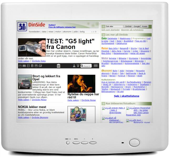 2004: Dinside har fått andre farger, og samlet alle kategorier og kalkulatorer i en gedigen boks til høyre. Snart vil du se hvordan nettsider gikk fra relativt kompliserte greier, til å bli enklere.