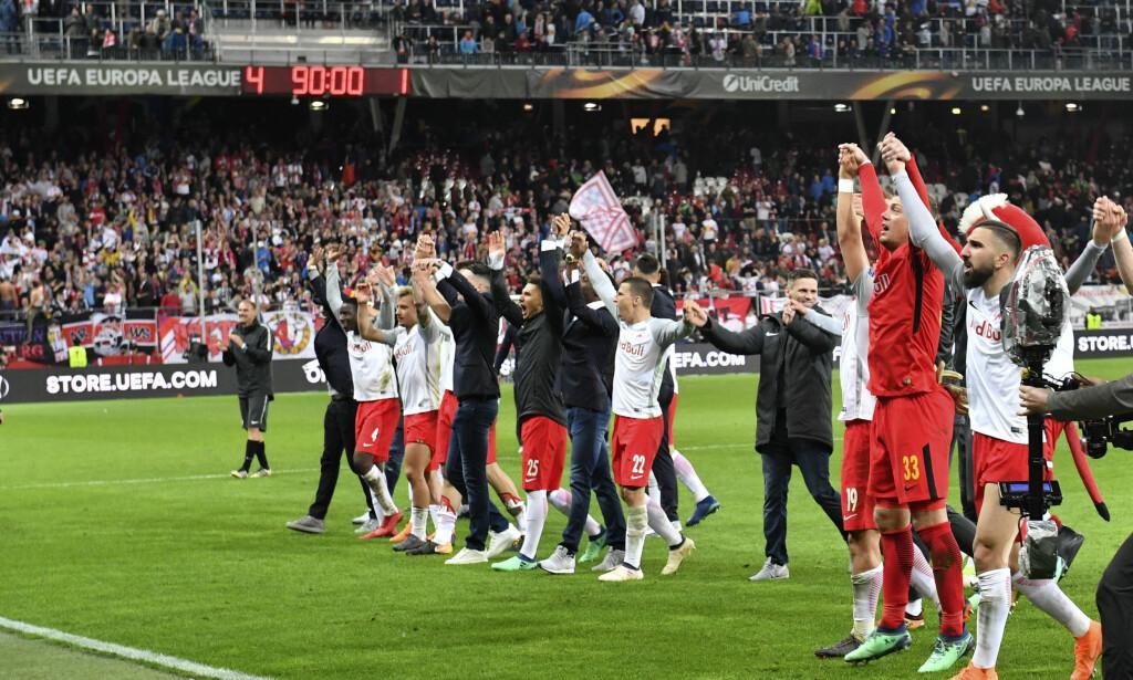 GOD TREKNING: Salzburg-spillerne kan få mer å juble for semifinalen i europaligaen. Foto: Kerstin Joensson, AP / NTB scanpix