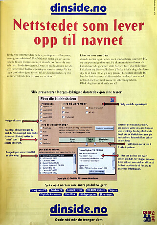 ANNONSE: Denne Dinside-annonsen stod i PC World Express 17. april 1998. Skulle bladleserne kapres, måtte man reklamere i deres kanaler.