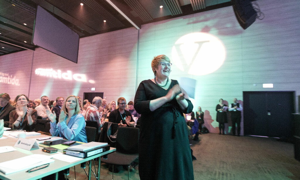 BLIR IKKE LEGALISERING: Venstre-leder Trine Skei Grande tok ikke ordet i landsmøtedebatten, men støttet ikke legaliseringsforslaget. Foto: Gorm Kallestad / NTB scanpix