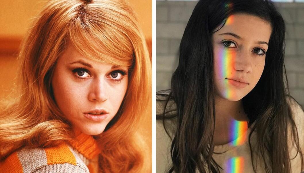SON TO DRÅPER VANN: Viva Vadim (16) og mormoren Jane Fonda (80). FOTO: NTB Scanpix og skjermdump fra Instagram // @vivavadim