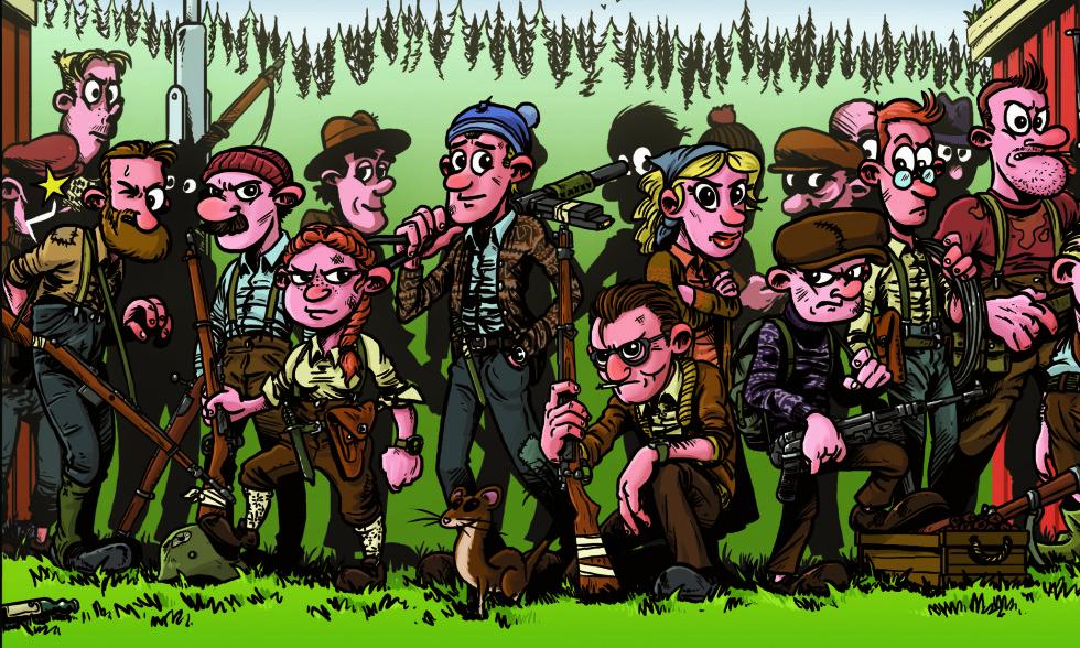 FANTASIFULL: John Jamtli debuterer med en ikke helt historisk korrekt tegneserie om Osvald-gruppa. Illustrasjon fra boka