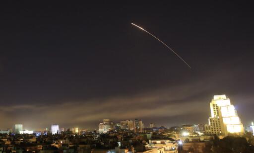 ANGREP: USA, Storbritannia og Frankrike angrep Syria i natt. Foto: AP Photo / Hassan Ammar / NTB Scanpix