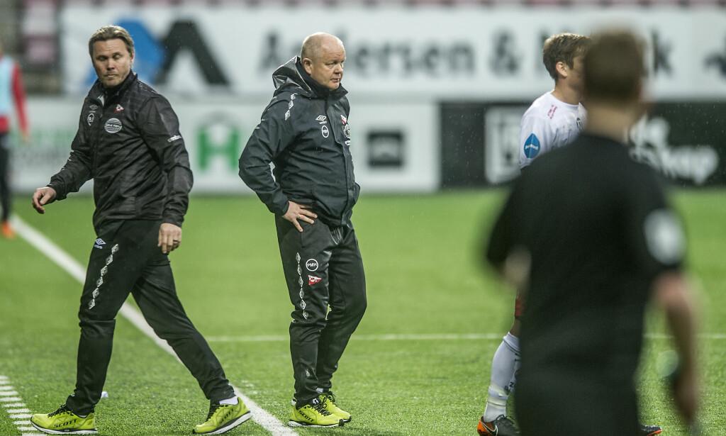 VANT: Det ble seier i Per-Mathias Høgmos comeback som fotballtrener. Foto: Geir A. Carlsson / Fredrikstad Blad