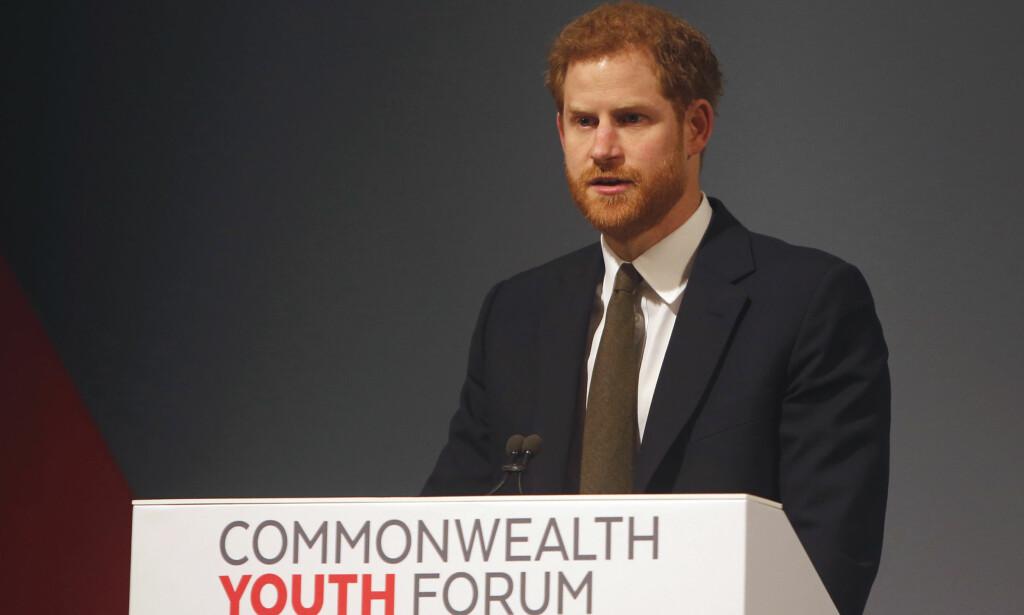 AVSLØRTE NYHET: I sin tale mandag kunne prins Harry fortelle at Meghan Markle blir ambassadør til ungdom i Samveldet av nasjoner, i liket med ham. Foto: NTB scanpix