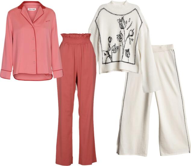 SETT 1: Skjorte fra Custommade, kr 1999. Bukse fra Custommade, kr 1799. SETT 2: Topp fra Dagmar, kr 3595. Bukse fra Dagmar, kr 2695.