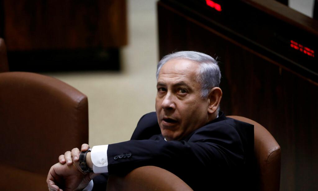 PÅ PLASS I PARLAMENTET: Israels statsminister Benjamin Netanyahu under en sesjon i Knesset, den israelske nasjonalforsamlingen. Foto: REUTERS/ NTB scanpix