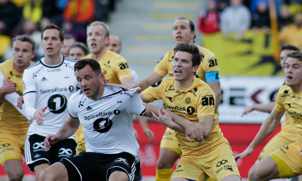 TØFFE TAK PÅ ASPMYRA: Rosenborgs forsvar var den beste lagdelen mot Bodø/Glimt. For et lag som skal vinne sitt fjerde strake seriemesterskap er det ikke sånn det skal være mot en nedrykkskandidat. Foto: Mats Torbergsen / NTB scanpix