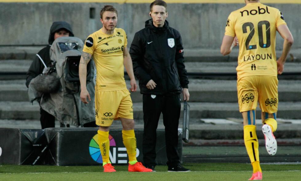 INN: En utålmodig Trond Olsen entrer banen mot Rosenborg, i bytte med sin viktigste konkurrent på venstrekanten, Amor Layouni. Spilletid har vært en sjeldenhet for lynvingen i år. Foto: Mads Torbergsen / NTB Scanpix