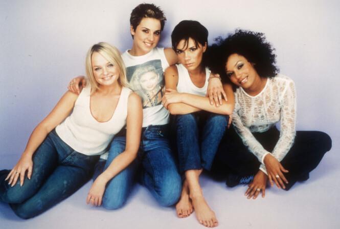 GIRL POWER: Spice Girls var en av de hotteste popgruppene på 90-tallet. Dette bildet er fra 1999. Fra venstre: Emma Bunton, Melanie Chisholm, Victoria Beckham og Melanie Brown. FOTO: NTB Scanpix