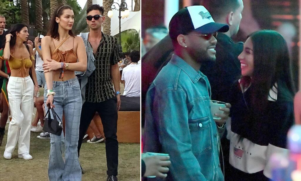 GJENFORENT - ELLER?: Nettstedet E! News meldte at eksene Bella Hadid (t.v.) og The Weeknd (t.v.) koste seg sammen på Coachella-festivalen i helgen. Nå kan det imidlertid virke som om han kun har hygget seg med DJ og modell Chantel Jeffries (ytterst t.h.). Foto: Splash News/ Mega/ NTB scanpix