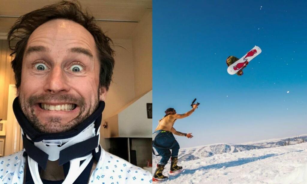 DRAMATISK: Daniel Franck fikk to gullmedaljer - og nakkebrudd - under årets Old Boys NM på Geilo. Foto: Privat/ Trygve Holte