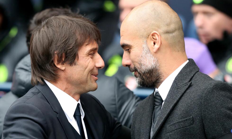 GOD TONE: Antonio Conte og Pep Guardiola har en gode tone seg imellom. Foto: Martin Rickett / Pa Photos / NTB Scanpix