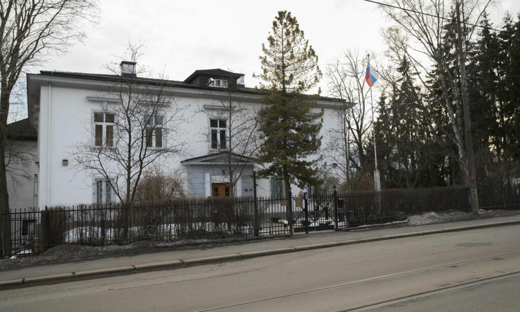 UTVIST: Norge utviste i mars én diplomat ved den russiske ambassaden i Oslo som reaksjon på giftangrepet i Storbritannia.    Foto: Terje Bendiksby / NTB scanpix