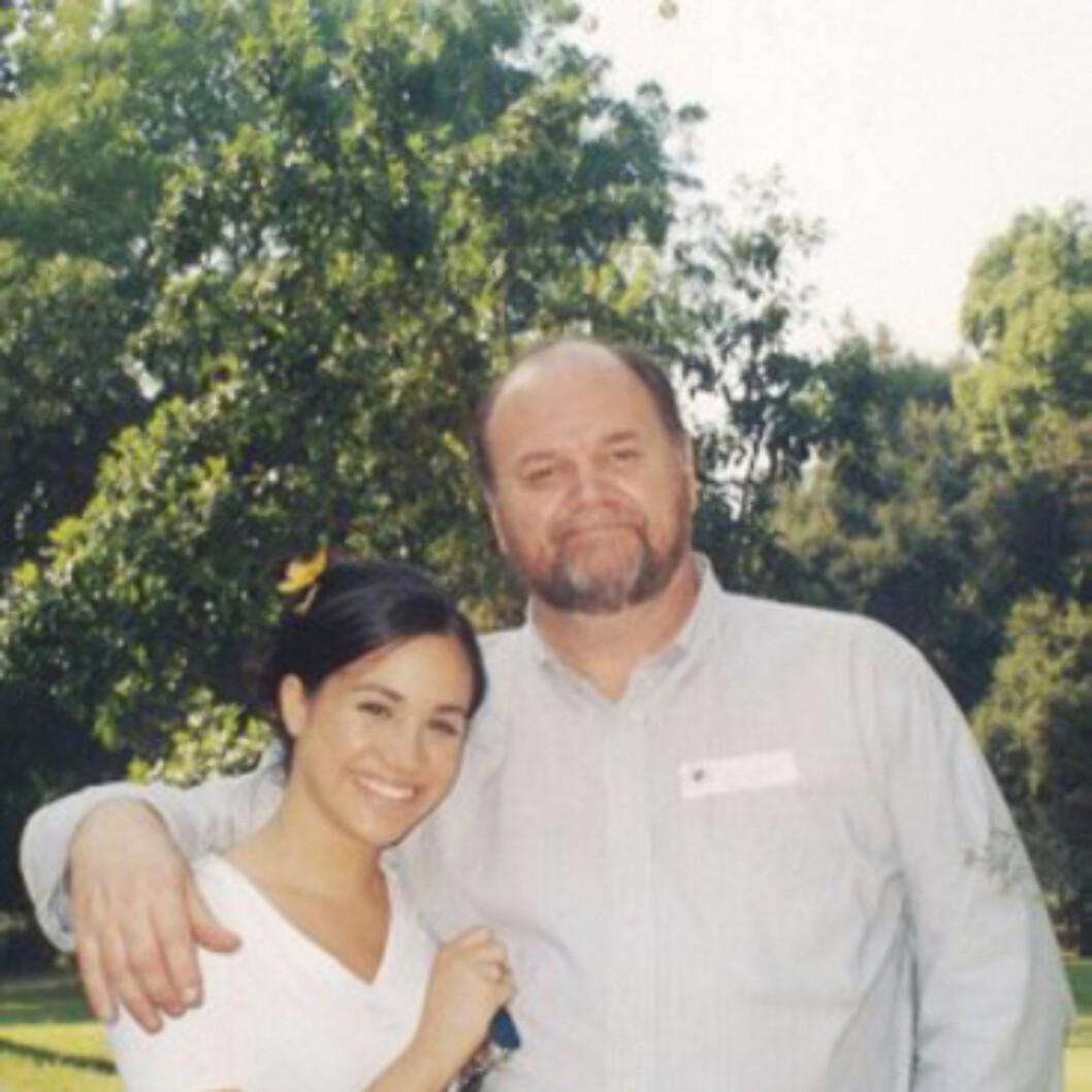 MEGHANS FAR: Meghan Markle med sin far Thomas Markle. De har et anstrengt forhold, og det er usikkert om han kommer i bryllupet. FOTO: NTB Scanpix