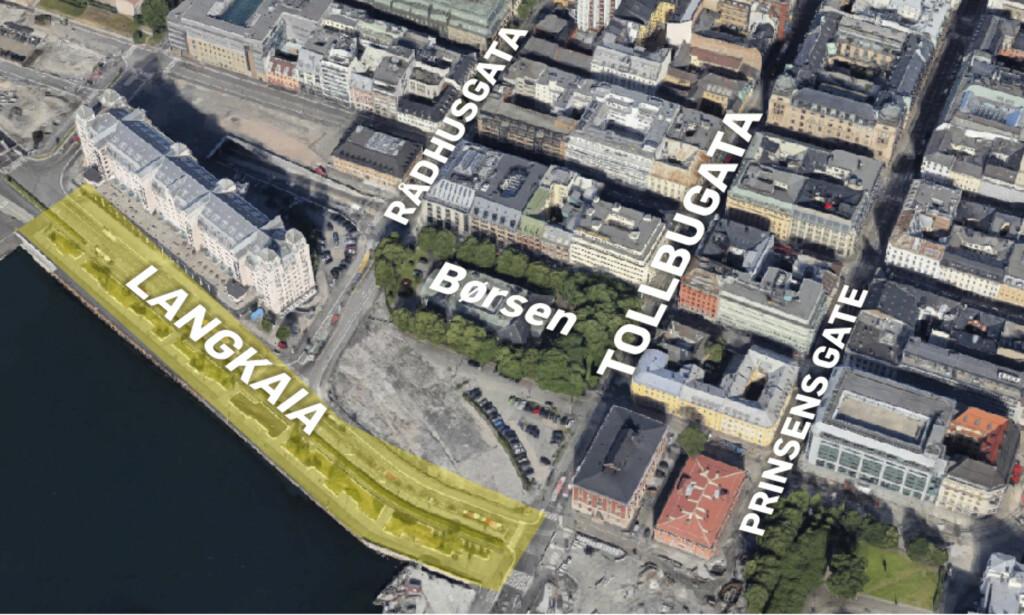VITNER: Politiet ber folk som har oppholdt seg i området omkring Langkaia mellom 02.45 og 06.30 fredag om å ta kontakt hvis de har sett noe som kan knyttes til saken. Grafikk: Kjell Erik Berg/Google Earth.