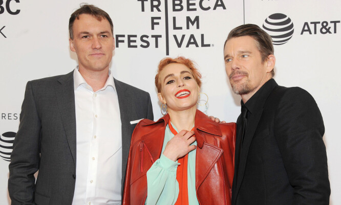 "Mandatory Credit: Photo by Broadimage/REX/Shutterstock (9637725j) Robert Budreau, Noomi Rapace, Ethan Hawke 'Stockholm' film premiere, Tribeca Film Festival, New York, USA - 19 Apr 2018 ""Stockholm"" - 2018 Tribeca Film Festival"
