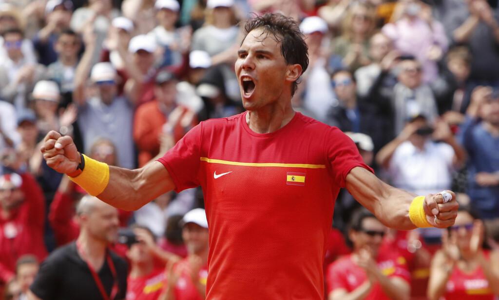 Rafael Nadal kunne juble for seier over Dominic Thiem. Foto: Alberto Saiz / AP