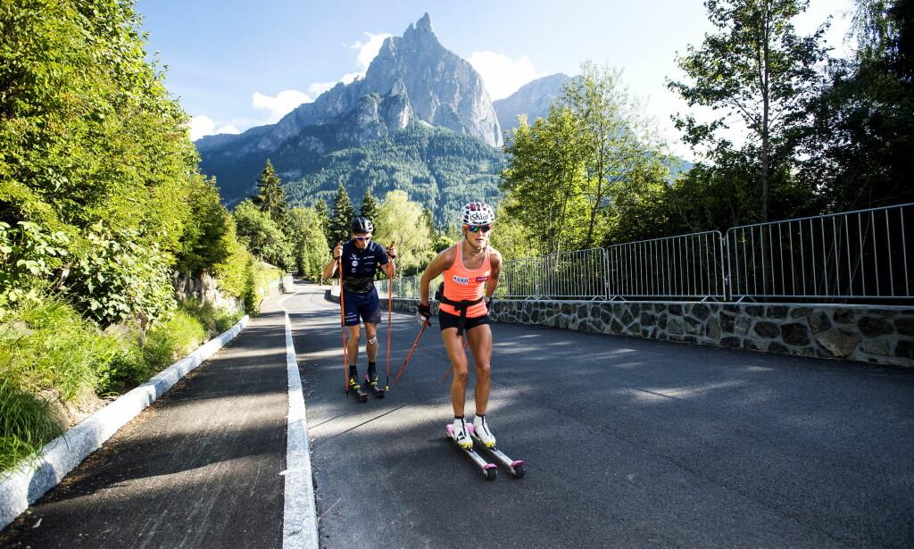 AVLYST: Skarverennet skulle være Therese Johaugs comeback-renn. Nå er det avlyst. Her fra treningstur i Italia i fjor sommer. Foto: John Terje Pedersen