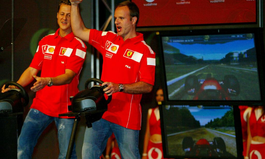 KOMPISER: Michael Schumacher og Rubens Barrichello var lagkamerater i fem år. Foto: AP Photo/Steve Holland