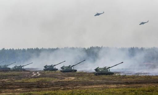 STOR ØVELSE: Hviterussiske og russiske styrker deltok sammen i Zapad i september 2017. Foto: Sergei Grits/AP