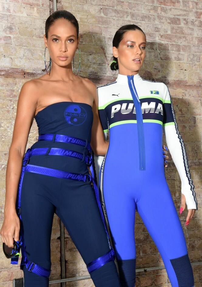 FENTY X PUMA: Dette er navnet på kolleksjonen Rihanna har i samarbeid med Puma, som her vises frem av supermodellene Joan Smalls og Adriana Lima. Foto: Scanpix
