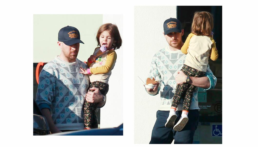 RYAN GOSLING: Hollywood-kjekkasen blir om mulig enda mer kjekk med sin skjønne datter i armene. Her har far og datter tatt en iskrem-pause på Jeni's Splendid Ice Cream-butikk i Los Angeles i slutten av april. FOTO: NTB Scanpix