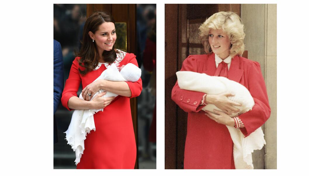 HYLLEST: Hertuginne Kate stilte i en rød kjole fra sin favorittdesigner Jenny Packham, og fikk oss til å tenke på prinsesse Diana som var ikledd en rød kåpe da hun viste frem sønnen prins Harry etter fødselen i 1984. FOTO: NTB Scanpix
