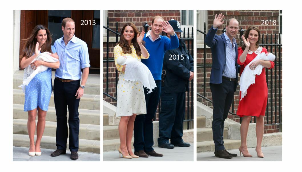 KONGELIGE BABYER: I 2013 viste Kate og William frem sønnen prins George utenfor St. Mary's Hospital i London. To år senere var det prinsesse Charlottes tur, og 23. april i år ble ekteparets tredje barn vist frem til folket. Alle tre gangene stilte hertuginne Kate i kjole fra favorittdesigneren Jenny Packham. FOTO: NTB Scanpix
